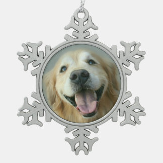 Smiling Golden Retriever Dog Holiday Snowflake Pewter Christmas Ornament