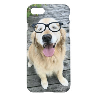 Smiling Golden Retriever Dog in Black Nerd Glasses iPhone 8/7 Case
