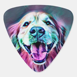 Smiling Golden Retriever Dog in Neon Colors Plectrum