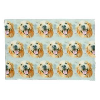 Smiling Golden Retriever Dog in Watercolor Pillowcase