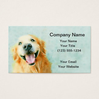 Smiling Golden Retriever in Watercolor Business Card