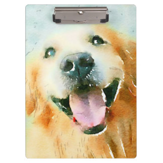 Smiling Golden Retriever in Watercolor Clipboard