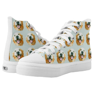Smiling Golden Retriever in Watercolor High Tops