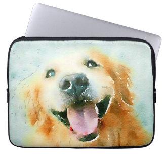 Smiling Golden Retriever in Watercolor Laptop Sleeve