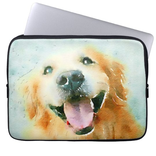 Smiling Golden Retriever in Watercolor Laptop Sleeve
