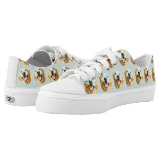 Smiling Golden Retriever in Watercolor Low Tops