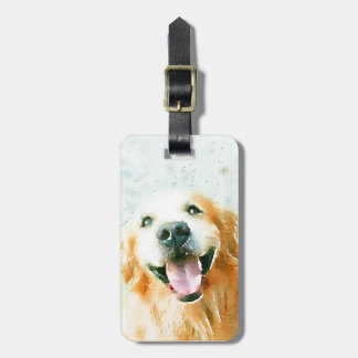 Smiling Golden Retriever in Watercolor Luggage Tag