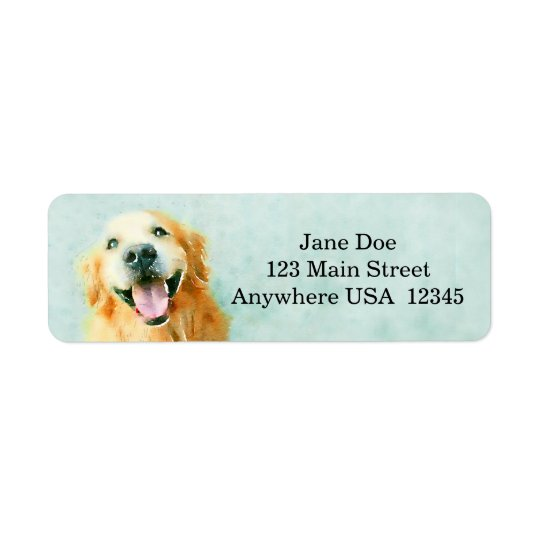 Smiling Golden Retriever in Watercolor Return Address Label