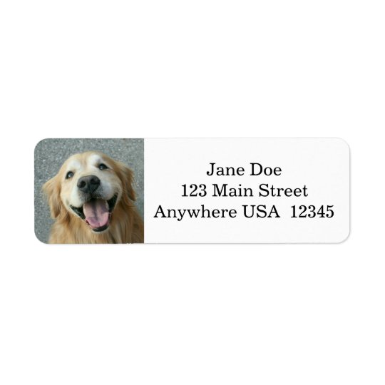 Smiling Golden Retriever Return Address Label