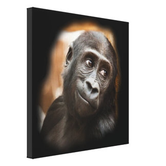 smiling gorilla baby canvas print
