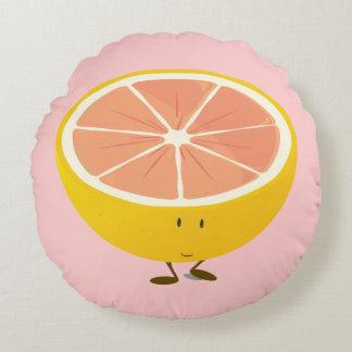 Smiling Grapefruit Round Cushion