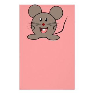 Smiling gray mouse stationery