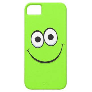 Smiling green happy cartoon smiley face funny barely there iPhone 5 case