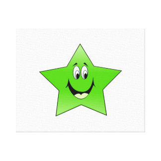Smiling Green Star Stretched Canvas Print