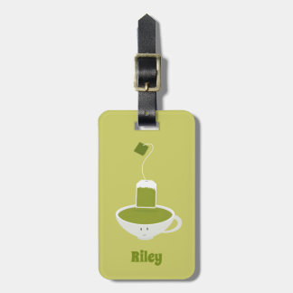 Smiling Green Tea with Name | Luggage Tag