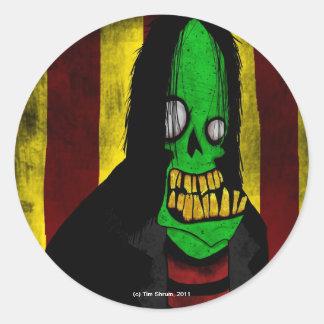 Smiling Green Zombie Round Sticker