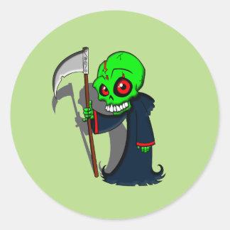 Smiling Grim Reaper Illustration Creepy Cool Classic Round Sticker