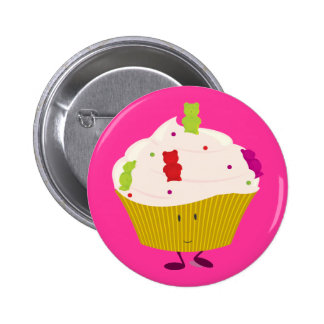 Smiling gummy bear cupcake 6 cm round badge