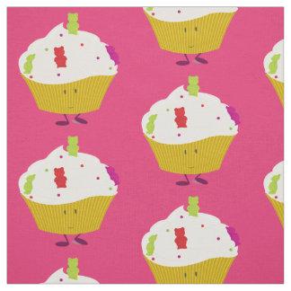 Smiling gummy bear cupcake fabric