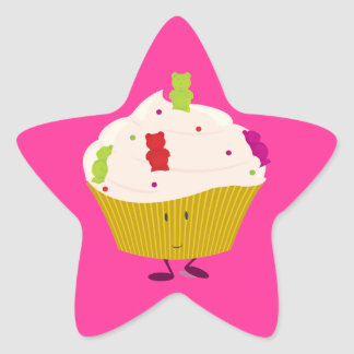 Smiling gummy bear cupcake star sticker