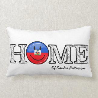 Smiling Haitian Flag Housewarming Lumbar Pillow
