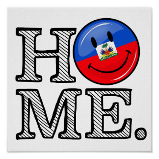 Smiling Haitian Flag Housewarming Poster