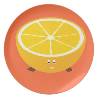 Smiling half orange character party plates