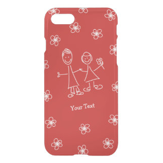 Smiling Hand in Hand Lovers Drawing iPhone Case