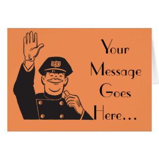 Smiling Hand Waving Friendly Cop Template Greeting Card