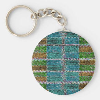Smiling Happy Blue Sparkle Basic Round Button Key Ring