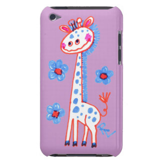 Smiling, Happy Giraffe  Purple Background Barely There iPod Case