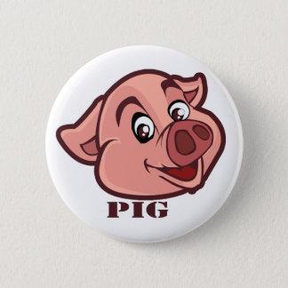 Smiling Happy Pig Face 6 Cm Round Badge