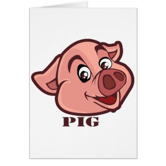 Smiling Happy Pig Face Card