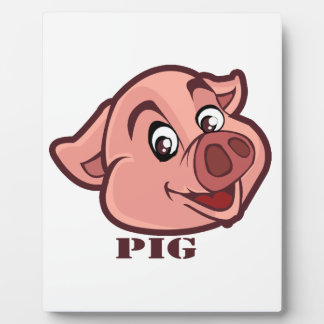 Smiling Happy Pig Face Photo Plaques