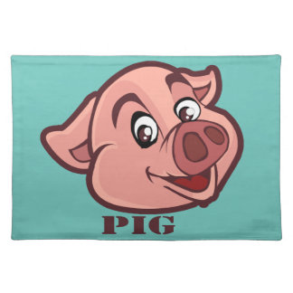 Smiling Happy Pig Face Placemat