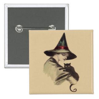 Smiling Happy Witch Black Cat 15 Cm Square Badge
