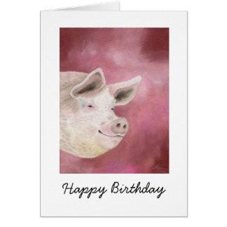 Smiling Hog Birthday Card
