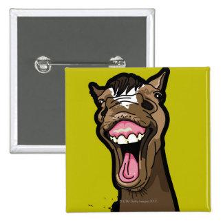 Smiling Horse 15 Cm Square Badge