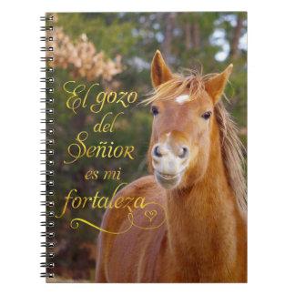 Smiling Horse Spanish Bible Verse Photo Notebook