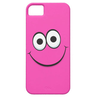 Smiling hot pink happy cartoon smiley face funny case for the iPhone 5