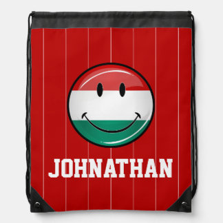 Smiling Hungarian Flag Drawstring Bag