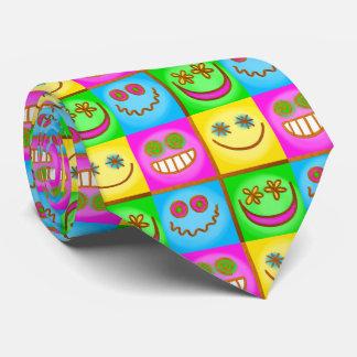 smiling icons pastel tie