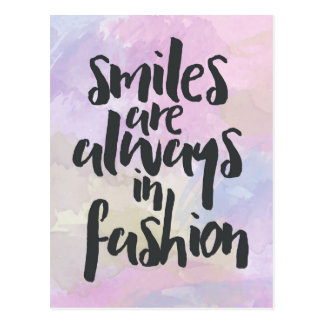Smiling In Fashion Quote Postcard