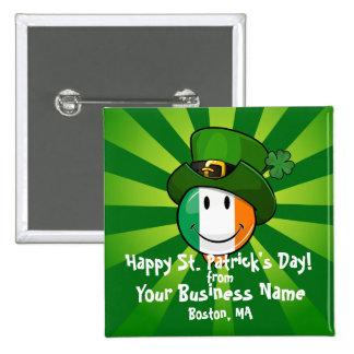 Smiling Irish Flag Wearing a Leprechaun Hat Pin