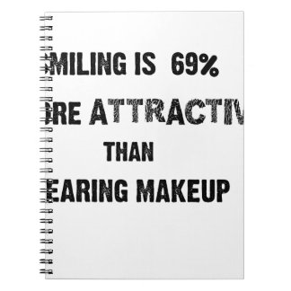 smiling is 69% more attractive than wearing makup notebook