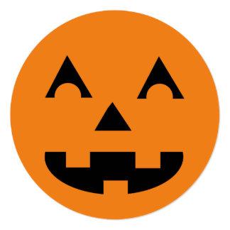 Smiling Jack O Lantern Halloween 13 Cm X 13 Cm Square Invitation Card