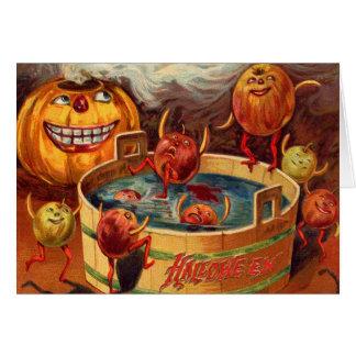 Smiling Jack O' Lantern Pumpkin Apple Greeting Card