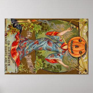 Smiling Jack O' Lantern Pumpkin Bat Poster