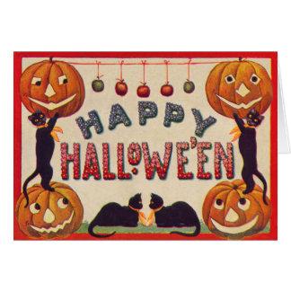 Smiling Jack O Lantern Pumpkin Black Cat Apples Greeting Card
