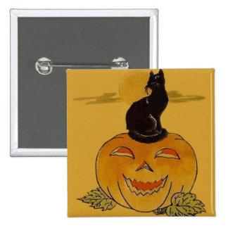 Smiling Jack O Lantern Pumpkin Black Cat Vine 15 Cm Square Badge
